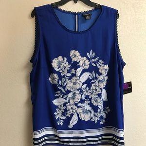 Royal Blue Floral Print Sleeveless Blouse